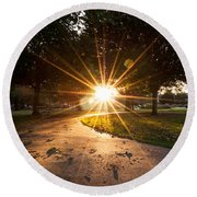 Park Sunburst Portrait Round Beach Towel