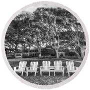 Park Under The Oaks Round Beach Towel by Debra and Dave Vanderlaan
