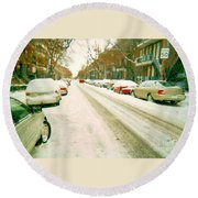 Parked Cars Snowed In Cold December Day Verdun Painting Quebec Winter Scenes Carole Spandau Art Round Beach Towel