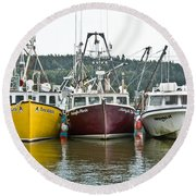 Parked Fishing Boats Round Beach Towel