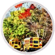 Parked School Buses Round Beach Towel
