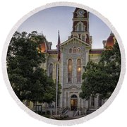 Parker County Courthouse Round Beach Towel
