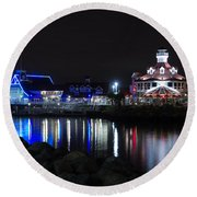 Parker's Lighthouse Reflections Round Beach Towel