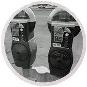 Parking Meters Round Beach Towel