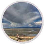 Parksville Beach - Low Tide Round Beach Towel