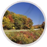 Parkway Road In North Carolina Round Beach Towel
