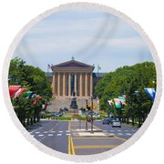 Parkway View Of The Museum Of Art Round Beach Towel