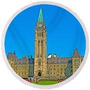 Parliament Building In Ottawa-on Round Beach Towel