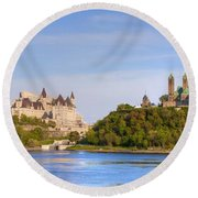 Parliament Buildings And The Fairmont Round Beach Towel