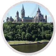 Parliament Hill - Ottawa Round Beach Towel