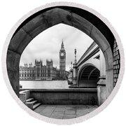 Parliament Through An Archway Round Beach Towel