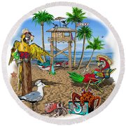Parrot Beach Party Round Beach Towel