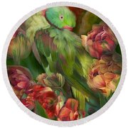Parrot In Parrot Tulips Round Beach Towel