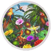 Parrot Jungle Round Beach Towel
