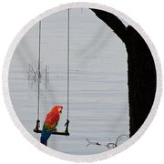 Parrot On A Swing Round Beach Towel