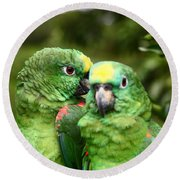 Parrot Whispers Round Beach Towel