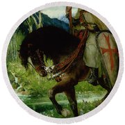 Parsifal In Quest Of The Holy Grail Round Beach Towel
