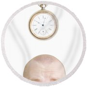 Part Of A Mans Head And A Stop Watch Round Beach Towel
