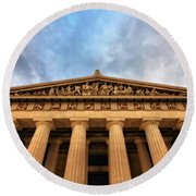 Parthenon From Below Round Beach Towel by Dan Sproul