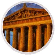 Parthenon On A Stormy Day Round Beach Towel by Dan Sproul
