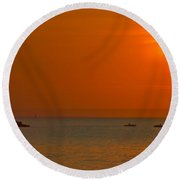 Partial Eclipse Round Beach Towel by Frozen in Time Fine Art Photography