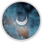 Partial Solar Eclipse In Cloud 1 Oct Round Beach Towel