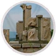 Partially Restored Fountain Of Trajan In Ephesus-turkey Round Beach Towel