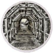 Partington Cove Tunnel By Diana Sainz Round Beach Towel