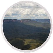 Partly Cloudy Day In The Blue Mountains Round Beach Towel