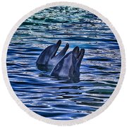 Partners In Blue Round Beach Towel