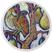 Partridge In A Pear Tree 1 Round Beach Towel