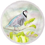 Partridge In A Pear Tree Round Beach Towel