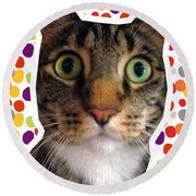 Party Animal- Cat With Confetti Round Beach Towel