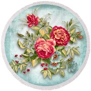 Party Of Flowers  Round Beach Towel