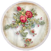 Party Of Roses  Round Beach Towel