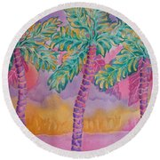 Party Palms Round Beach Towel