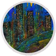 Party Town Round Beach Towel