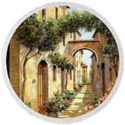 Passando Sotto L'arco Round Beach Towel by Guido Borelli