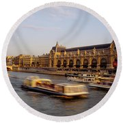 Passenger Craft In A River, Seine Round Beach Towel by Panoramic Images