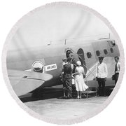 Passengers Boarding Airplane Round Beach Towel