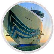 Passing Cruise Ships At Sunset Round Beach Towel