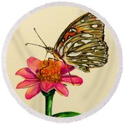 Passion Butterfly On Zinnia Round Beach Towel