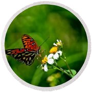 Passion Butterfly Painted Round Beach Towel
