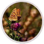 Passion Butterfly Round Beach Towel