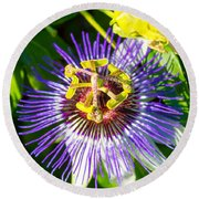 Passion Fruit Flower Round Beach Towel