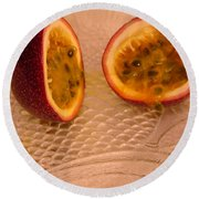 Passion Fruit On Fish Plate 11-3-13 Round Beach Towel