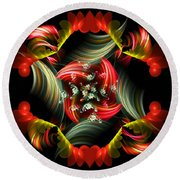 Passionate Love Bouquet Abstract Round Beach Towel