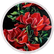 Passionately Red  Round Beach Towel