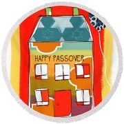 Passover House Round Beach Towel by Linda Woods