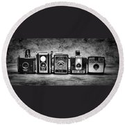 Past Cameras Round Beach Towel